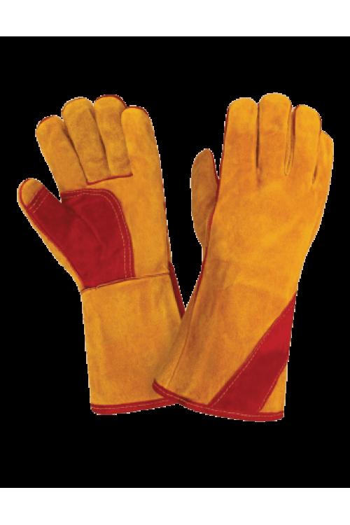 Краги спилковые утеплённые желтые