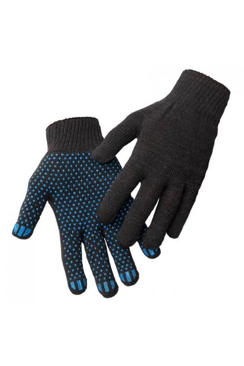 Перчатки х/б с ПВХ (точка) 5-х нитка черные